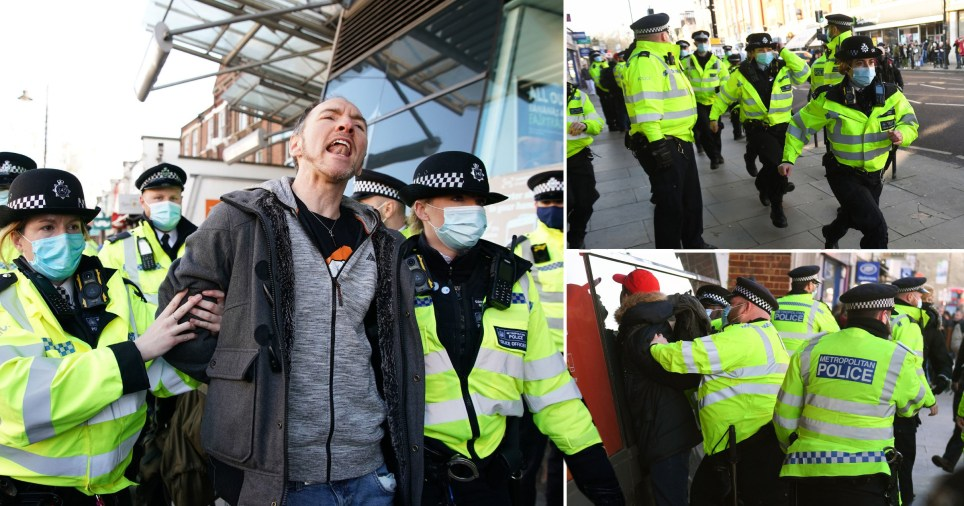 Anti-lockdown protesters detained by the Metropolitan Police in Clapham, south London, on January 9, 2021