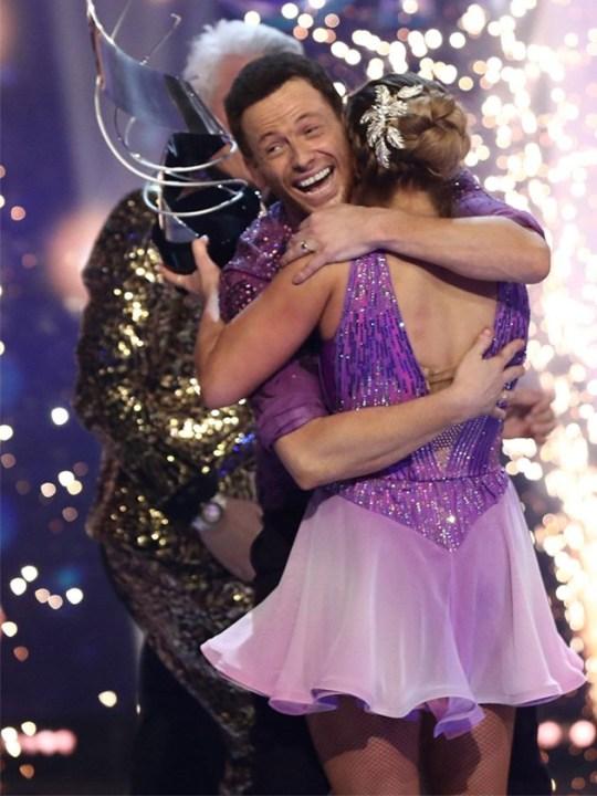 Joe Swash celebrating his win on dancing on ice 2020