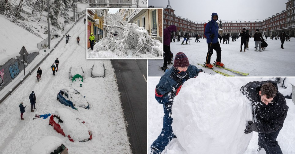 Pictures of the snow in Madrid, where people have been out in their skis