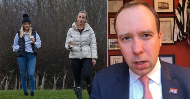 Matt Hancock on Sky News and a picture of Jessica Allen and Eliza Moore, who met for a walk together