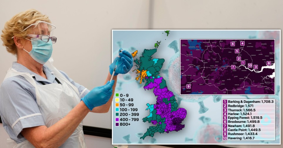 Map reveals the worst-hit Covid hotspots in England as cases surge