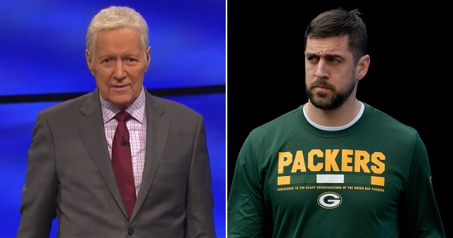 Jeopardy! host Alex Trebek and NFL star Aaron Rodgers