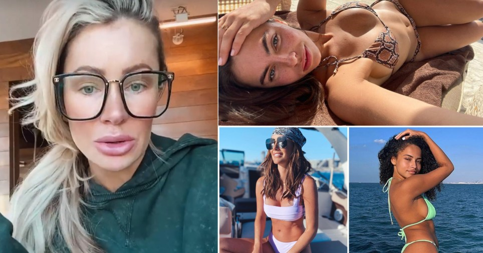 Olivia Attwood and celebrities posing on beaches