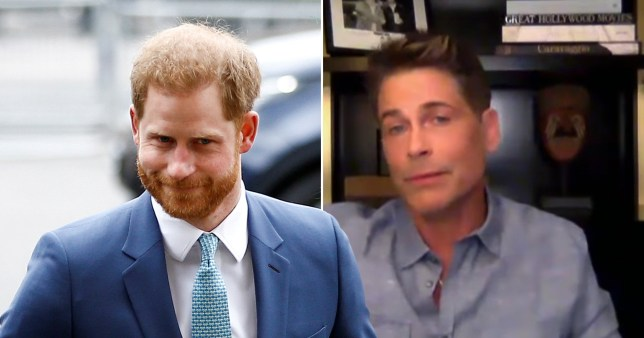 Prince Harry has grown a ponytail according to LA neighbour Rob Lowe