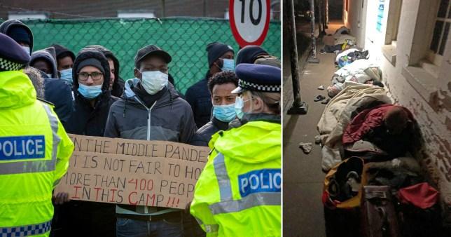 A protest outside an asylum seeker barracks in Folkestone
