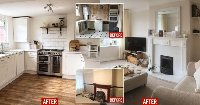 Composite image of kitchen and living room before and after