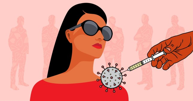 A stylised drawing of a woman in sunglasses and a vaccine