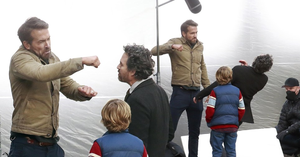 Ryan Reynolds, Mark Ruffalo and Walker Scobell film a scene during filming of the Netflix movie The Adam Project