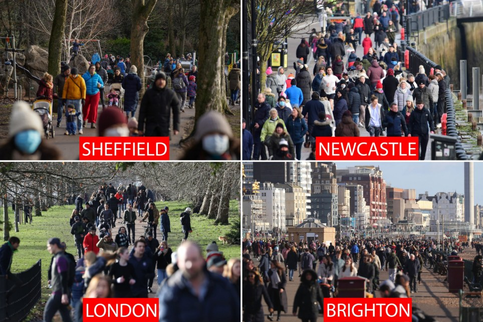 Scenes of crowds in Sheffield, Newcastle, Brighton and London
