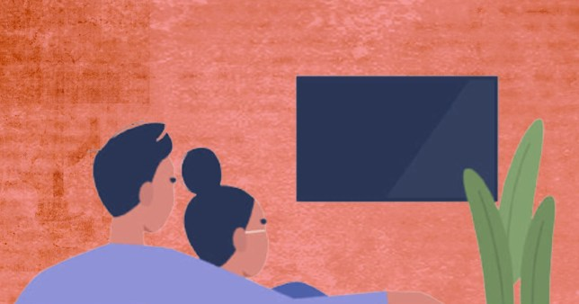 illustration of a couple watching TV