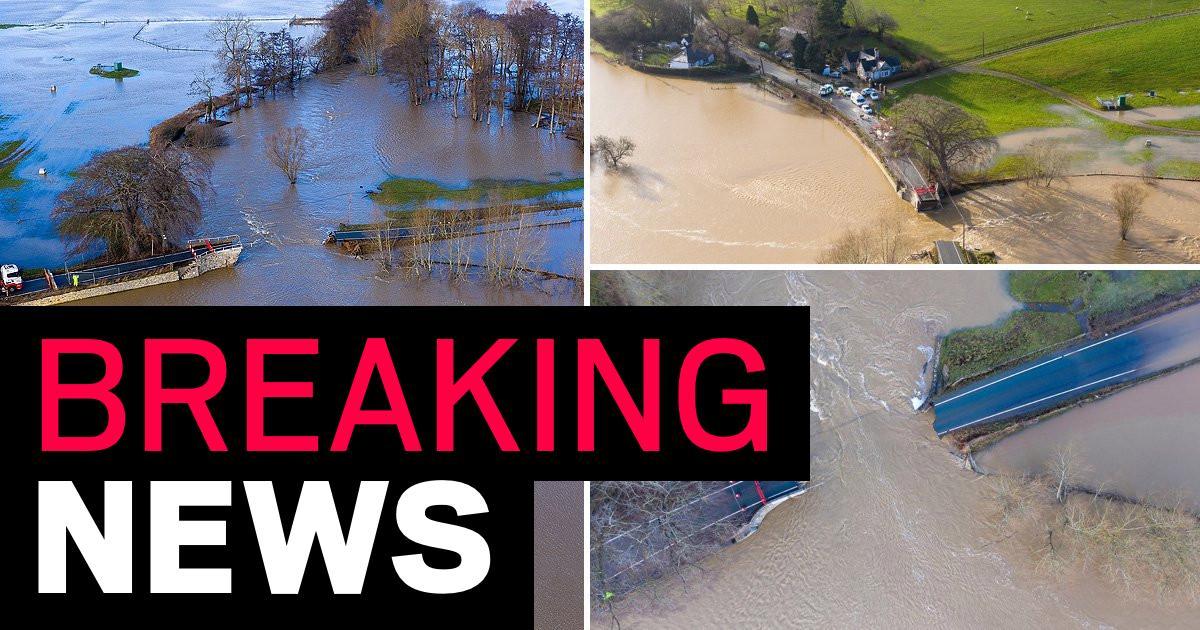 Bridge swept away by 'danger to life' floods in Storm Christoph