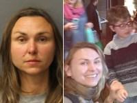 Une image partagée montrant une voiture de police devant une maison, la photo d'Olga Freeman et une image d'Olga Freeman et de son fils.