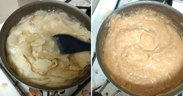 Mashed potato made out of crisps