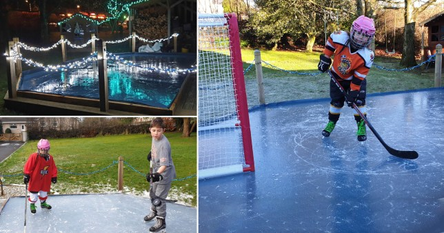 Images of the home-build ice rink with Craig's kids skating on it