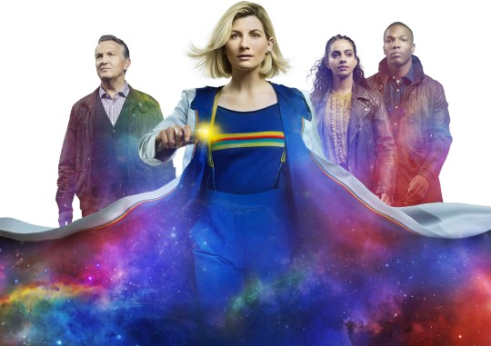 Bradley Walsh, Jodie Whittaker, Mandip Gill and Tosin Cole in Doctor Who