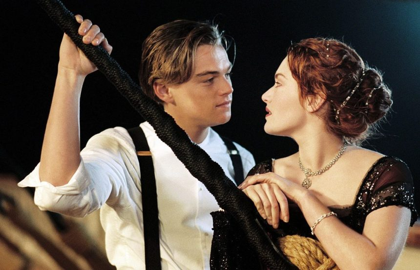 Leonardo Dicaprio and Kate Winslet Titanic as Jack and Rose in Titanic, 1997