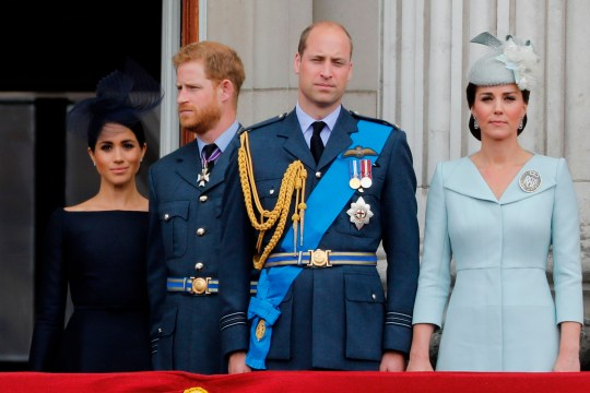 (L-R) Meghan, Duchess of Sussex,  Prince Harry, Duke of Sussex, Prince William, Duke of Cambridge and Catherine, Duchess of Cambridge, stand on the balcony of Buckingham Palace