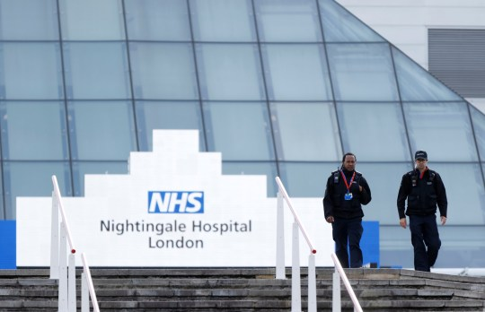 A general view of staff outside the NHS Nightingale Hospital at the Excel Centre, following the outbreak of the coronavirus disease (COVID-19), London, Britain, May 5, 2020. REUTERS/John Sibley
