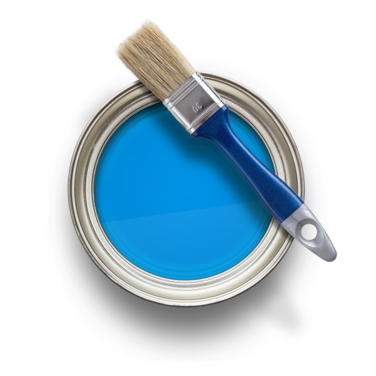 DECORATE - High angle view of blue paint can with brush isolated on white background