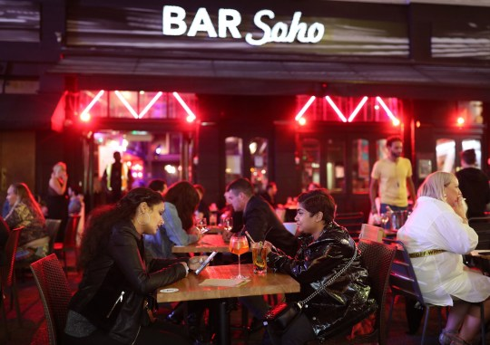 Late-night drinkers after 10pm in Soho, London.