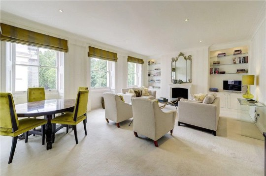 reception room in flat of townhouse previously owned by sean connery