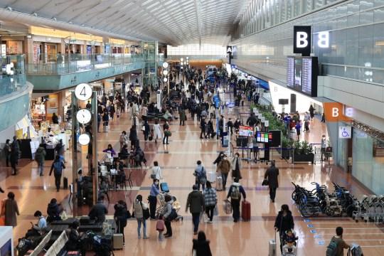 Lundi, un homme attend l'arrivée des passagers dans un terminal international de l'aéroport Haneda de Tokyo.  Le Japon a découvert une nouvelle variante du coronavirus qui a été découverte chez des passagers arrivés à Tokyo en provenance du Brésil.