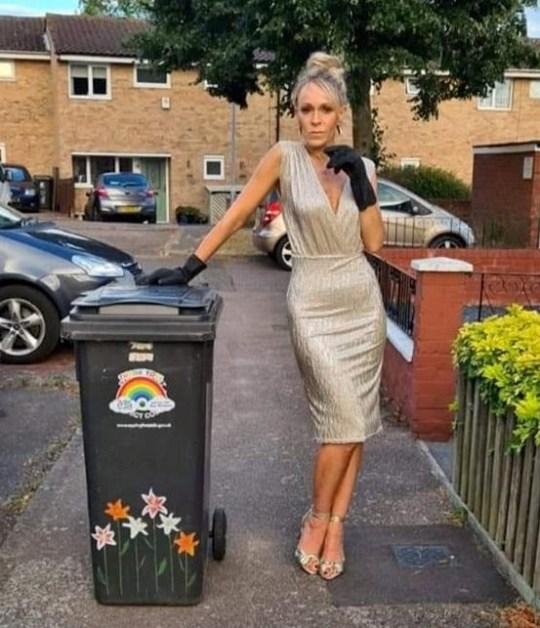 nicola matthews dressed up to take out bins