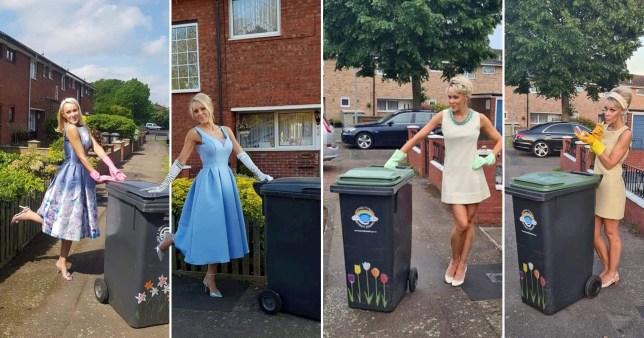 Nicola Matthews taking out the bins