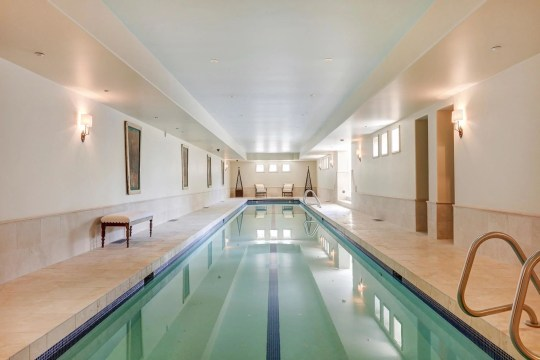swimming pool inside mansion in Calgary