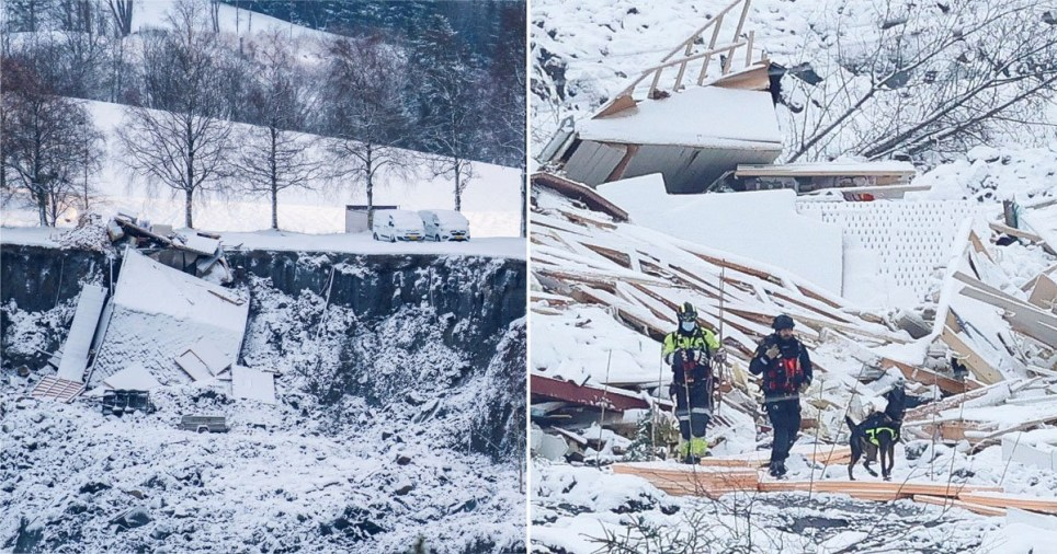 Two dead and eight missing after landslide destroys homes in Norway