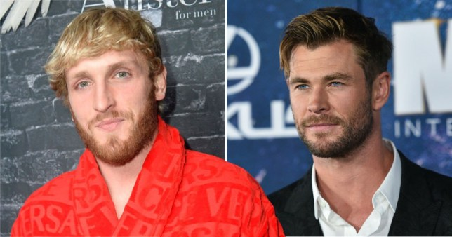YouTube star Logan Paul pictured separately alongside Chris Hemsworth