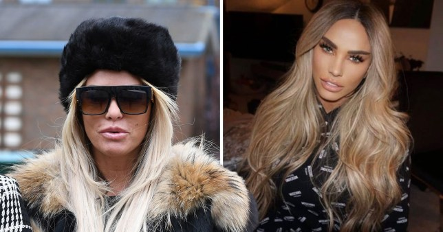 Katie Price pictured in hat and sunglasses alongside Instagram selfie