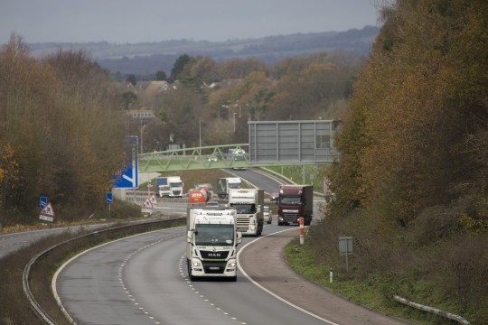Traffic on M20 motorway near Folkestone, Kent, U.K., on Tuesday, Nov. 17, 2020. The U.K. government signaled the abrupt departure of two of Brexit's architects from Downing Street won't prompt it to back down as negotiations with the European Union enter another crucial week. Photographer: Jason Alden/Bloomberg via Getty Images