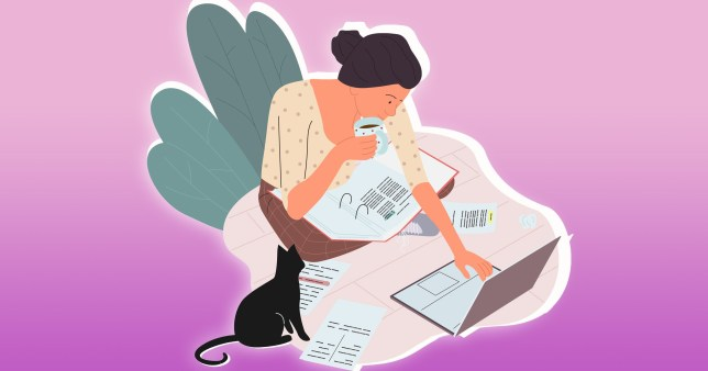 illustration of woman on laptop