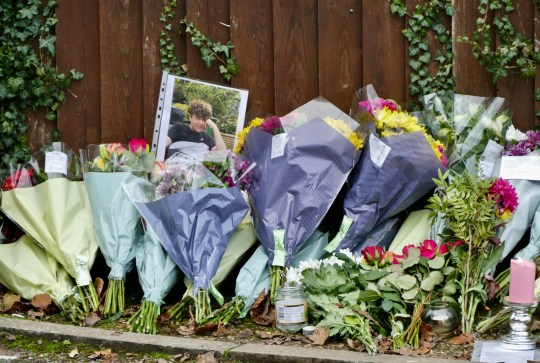 Mandatory Credit: Photo by Geoff Swaine/REX (11679924u) Floral tributes are left outside Highdown school where Oliver Stephens was a pupil Floral tributes to murdered teen Oliver 'Olly' Stephens, Emmer Green, Berkshire, UK - 05 Jan 2021