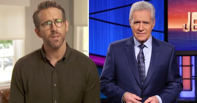 Ryan Reynolds and late Jeopardy! host Alex Trebek