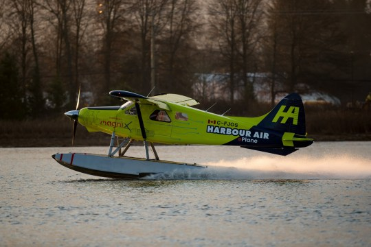 A Harbour Air Ltd. de Havilland DHC-2 Beaver prototype electric aircraft lands on the Fraser River during a test flight at Vancouver International Airport in Richmond, British Columbia, Canada, on Tuesday, Dec. 10, 2019.