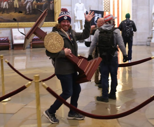 Protesters in the US Capitol Building in Washington DC.