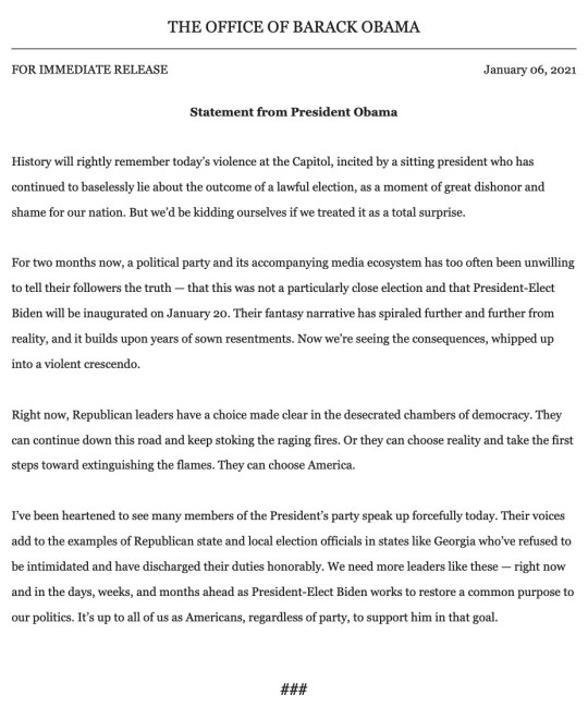 Barack Obama's statement on the Capitol Hill riots.