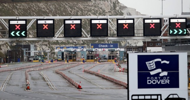 A view of check-in at the Port of Dover in Kent on the first fully operational day at the port under post-Brexit regulations. PA Photo. Picture date: Monday January 4, 2021. See PA story POLITICS Brexit. Photo credit should read: Gareth Fuller/PA Wire