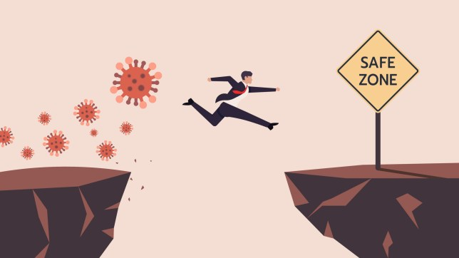 Coronavirus Crisis Jumping Through The Gap Obstacles of Cliff Edge to Safe zone.