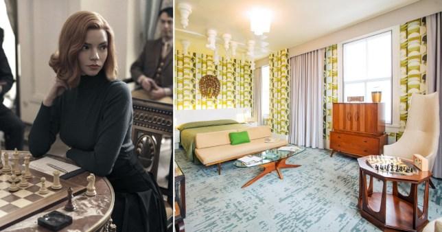 Queen's Gambit inspired hotel room Pics: Netfliz/Mega