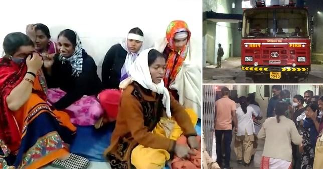 Des membres de la famille pleurent dans un hôpital général de district où un incendie s'est déclaré à Bhandara, à environ 70 kilomètres de Nagpur, en Inde, le samedi 9 janvier 2021. Un incendie s'est déclaré dans l'unité de soins intensifs d'un hôpital gouvernemental de l'ouest de l'Inde tôt samedi, tuant 10 nourrissons, ont annoncé la police et les médias.  Les pompiers ont sauvé sept bébés de l'unité de soins aux nouveau-nés de l'hôpital.