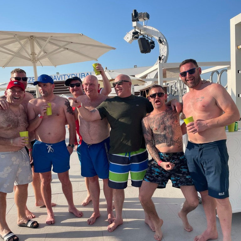 A group of seven friends in Dubai. Ryan Hoyle celebrated his EuroMillions lottery win by taking his friend on a trip to Dubai.