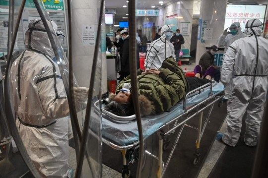(FILES) This file photo taken on January 25, 2020 shows medical staff members wearing protective clothing to help stop the spread of a deadly virus which began in the city, arriving with a patient at the Wuhan Red Cross Hospital in Wuhan, in central China's Hubei province. - The source of the coronavirus is the world's biggest scientific puzzle but experts warn there may never be conclusive answers in an investigative effort marked from the start by disarray, Chinese secrecy and international rancour. (Photo by Hector RETAMAL / AFP) / To go with AFP story Health-China-virus-source, FOCUS by Leo RAMIREZ and Dan Martin in Shanghai (Photo by HECTOR RETAMAL/AFP via Getty Images)