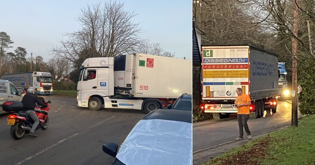 Lorries clog up small village as government is giving them the wrong postcode for Brexit lorry park