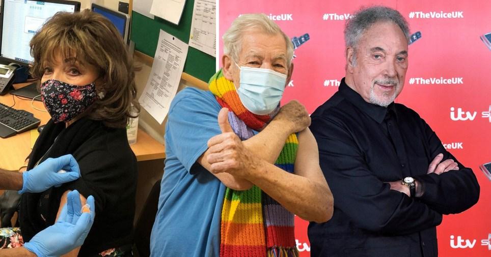 Dame Joan Collins getting Covid-19 vaccine, Sir Ian McKellen and Sir Tom Jones