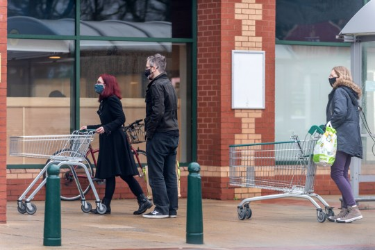 Shoppers outside a branch of Morrisons on December 21, 2020 in Portsmouth, United Kingdom.