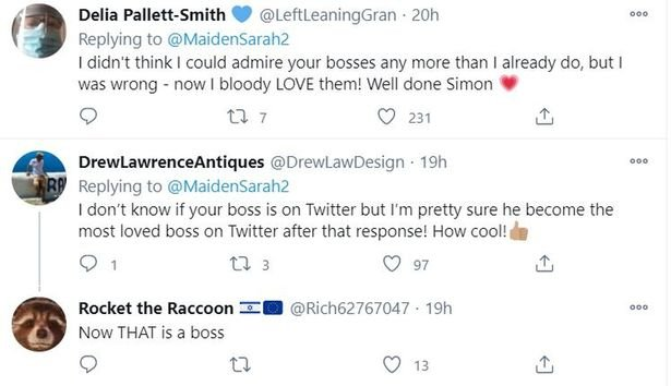 Boss defends employee after she called 'bully' Twitter troll a w***** - sarah maiden tweets