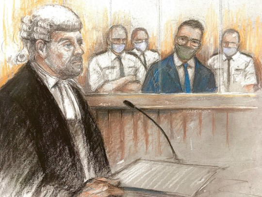 Court artist sketch by Elizabeth Cook of Pawel Relowicz (2nd right), who denies raping and murdering Libby Squire, appearing at Sheffield Crown Court with barrister Richard Wright QC for the prosecution (left).